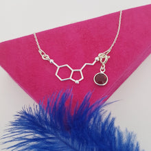 Load image into Gallery viewer, Be Happy Silver Charm Necklace | Serotonin Molecule with a Birthstone