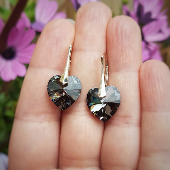 Silver Night Heart earrings with 14mm crystals and 925 sterling silver leverbackin gift box, dangle and drop earrings made in Ireland.