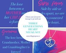 Load image into Gallery viewer, Three GENERATIONS Heart Necklace in Silver