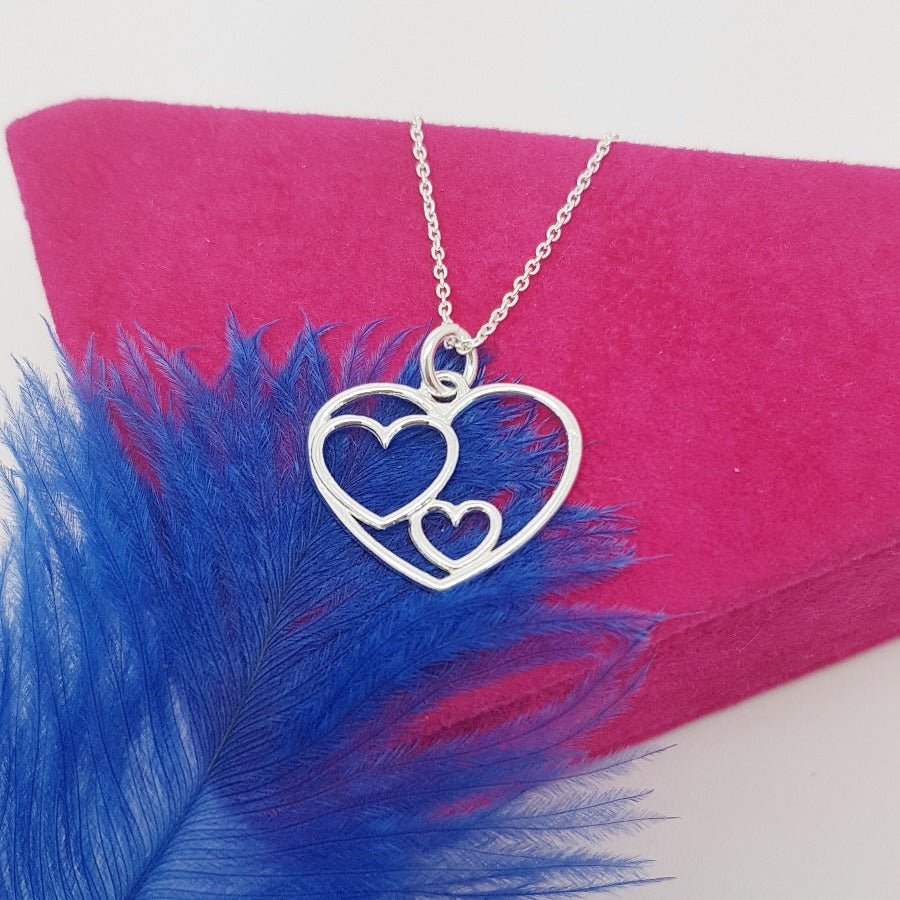 Three GENERATIONS Grandmother Mother and Child 3 Heart Necklace, [product type], - Personalised Silver Jewellery Ireland by Magpie Gems