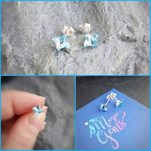 Little Miss Twister Studs | Aquamarine Crystal Earrings, [product type], - Personalised Silver Jewellery Ireland by Magpie Gems