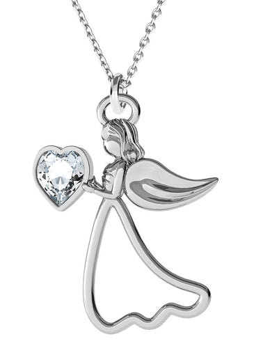 silver angel pendant necklace gift boxed hand finished in ireland