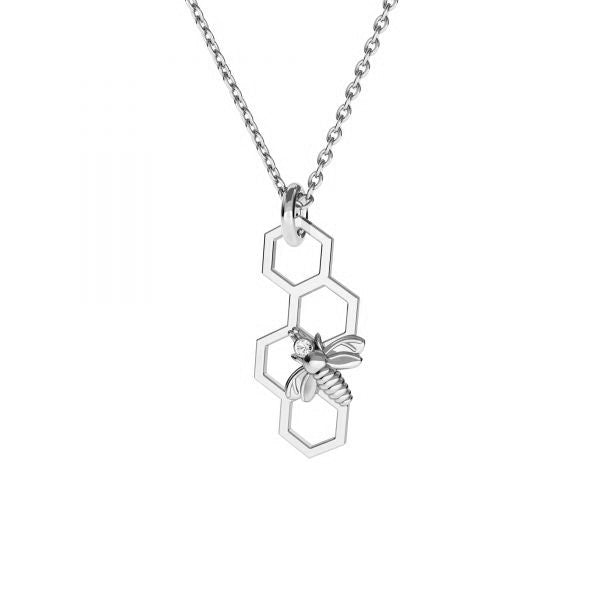 Bee Honeycomb Silver Necklace