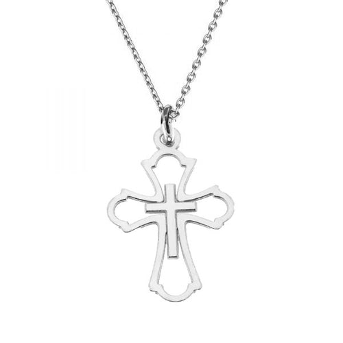 Believe | Dainty Cross sterling silver necklace | Gift for first communion | confirmation, [product type], - Personalised Silver Jewellery Ireland by Magpie Gems