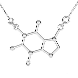 Caffeine Molecule Silver Necklace