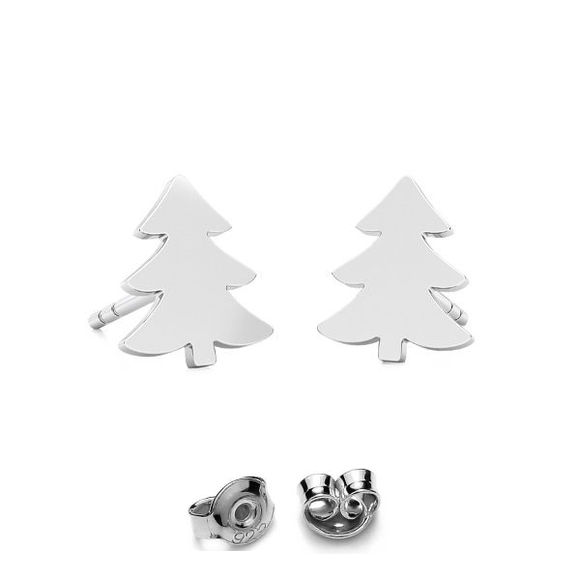 Christmas tree post earrings in silver