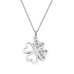 I FEEL LUCKY Shamrock Pendant Necklace with Crystals