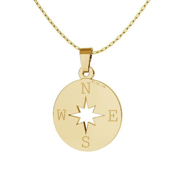 Finding your way - Solid Gold Compass Wind Rose Necklace