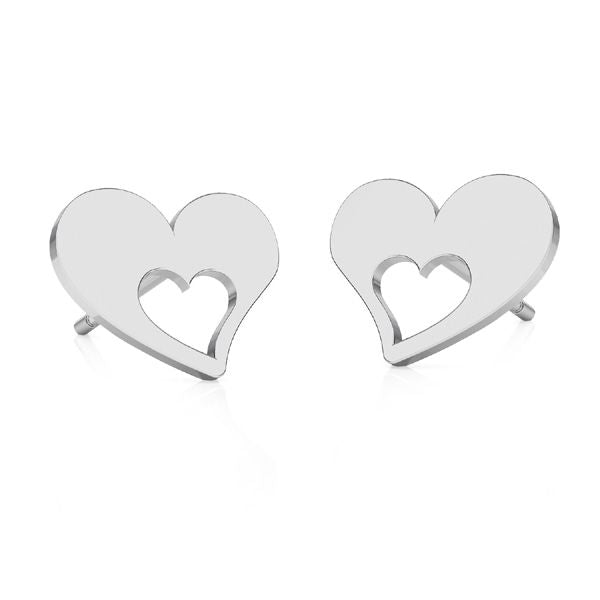 I believe in Love | Heart Post Silver Earrings