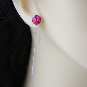 Ear Thread Sterling Silver & Crystal Earrings, [product type], - Personalised Silver Jewellery Ireland by Magpie Gems