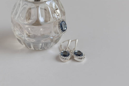 Sterling silver earrings and necklace with Swarovski Crystals, [product type], - Personalised Silver Jewellery Ireland by Magpie Gems