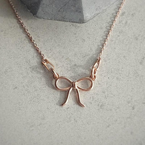 Rose Gold Dainty Bow Necklace, [product type], - Personalised Silver Jewellery Ireland by Magpie Gems