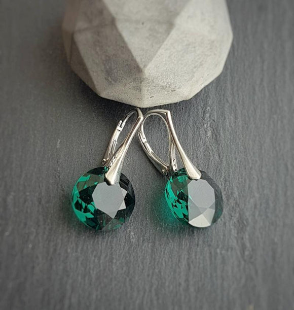May Taurus Crystal BIRTHSTONE Leverback earrings, [product type], - Personalised Silver Jewellery Ireland by Magpie Gems