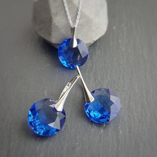 September BIRTHSTONE VIRGO Sapphire crystal earrings and necklace set, [product type], - Personalised Silver Jewellery Ireland by Magpie Gems