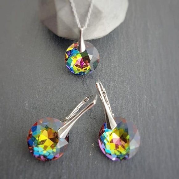 Rainbow earrings and necklace jewellery set | Vitrail Medium, [product type], - Personalised Silver Jewellery Ireland by Magpie Gems