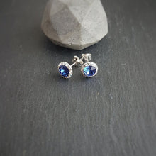 Load image into Gallery viewer, Blue Pave Style Jewellery Stud Earrings, Necklace and Adjustable Ring set with Swarovski crystals and sterling silver - Made in Ireland, [product type], - Personalised Silver Jewellery Ireland by Magpie Gems