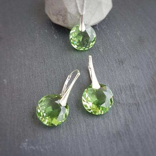 August BIRTHSTONE LEO Peridot crystal set, [product type], - Personalised Silver Jewellery Ireland by Magpie Gems