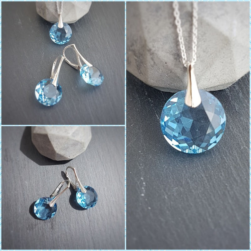 March Pisces BIRTHSTONE Aquamarine crystal earrings and necklace set