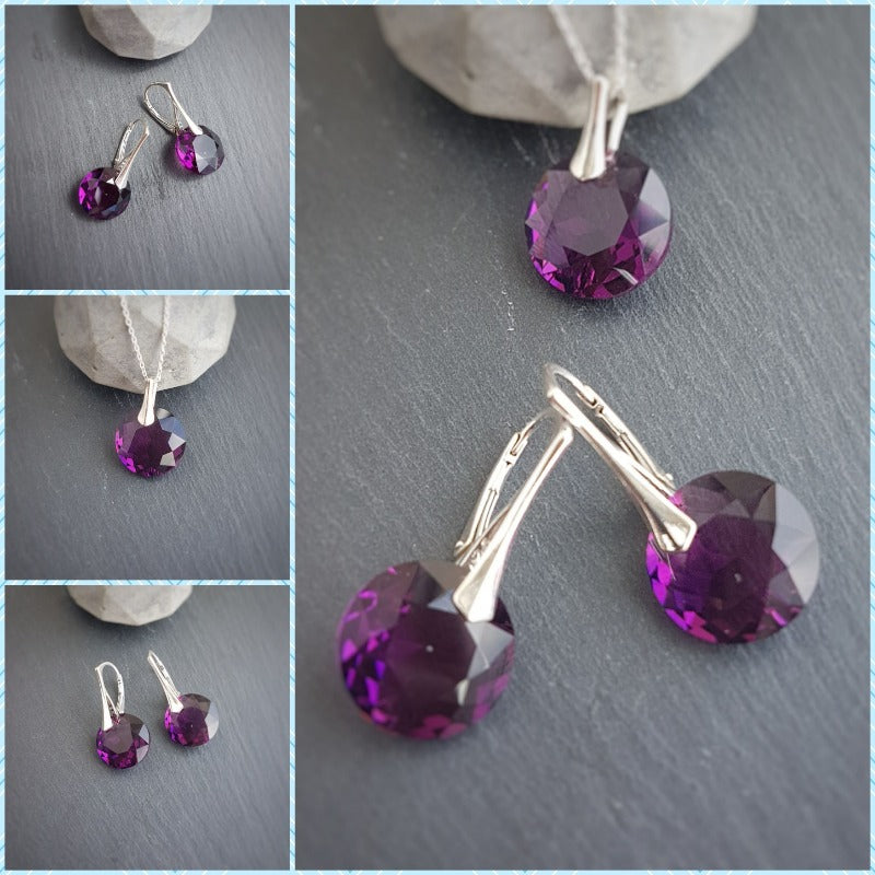 February Aquarius Amethyst BIRTHSTONE set, [product type], - Personalised Silver Jewellery Ireland by Magpie Gems