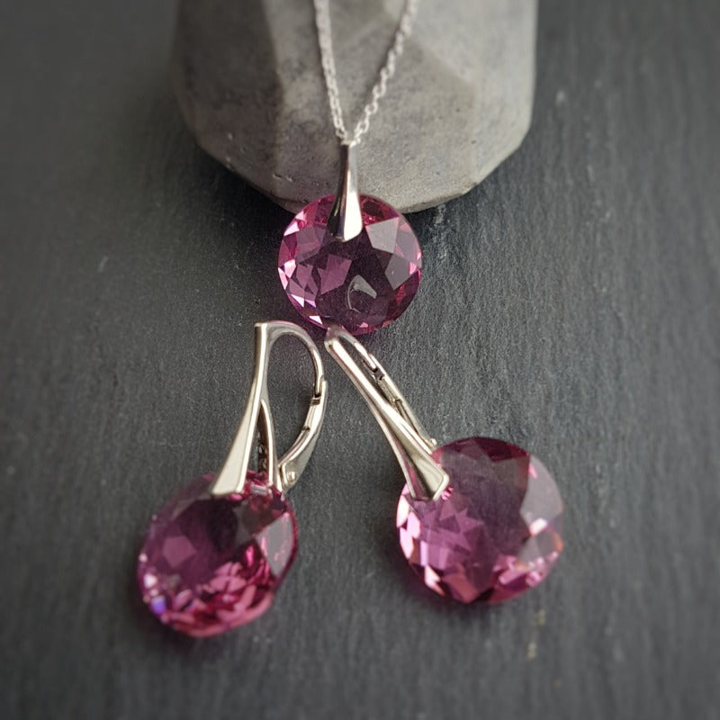 October Libra Rose BIRTHSTONE crystal earrings and necklace set, [product type], - Personalised Silver Jewellery Ireland by Magpie Gems