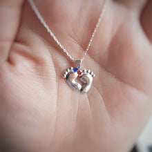 Load image into Gallery viewer, Tiny Baby feet silver necklace | Pink or blue crystals, [product type], - Personalised Silver Jewellery Ireland by Magpie Gems
