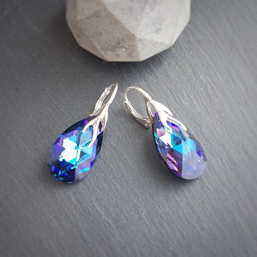 Heliotrope purple Tear Drop Silver Earrings with Lever back, [product type], - Personalised Silver Jewellery Ireland by Magpie Gems