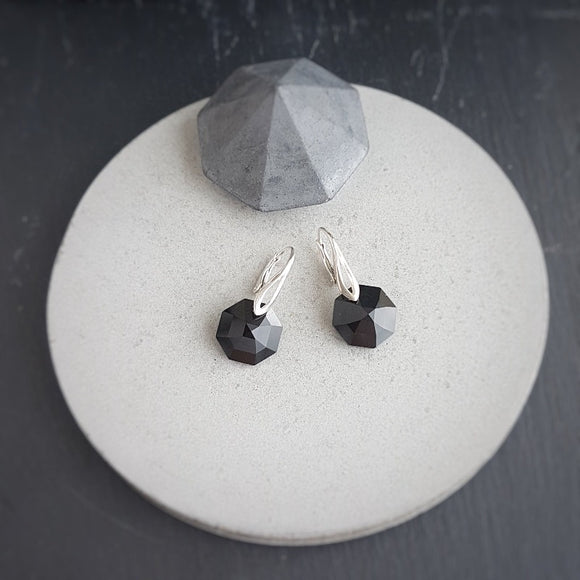 Black Octagon Crystal and Silver Earrings, [product type], - Personalised Silver Jewellery Ireland by Magpie Gems