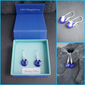 Purple Sun Crystal dangle & drop earrings, [product type], - Personalised Silver Jewellery Ireland by Magpie Gems