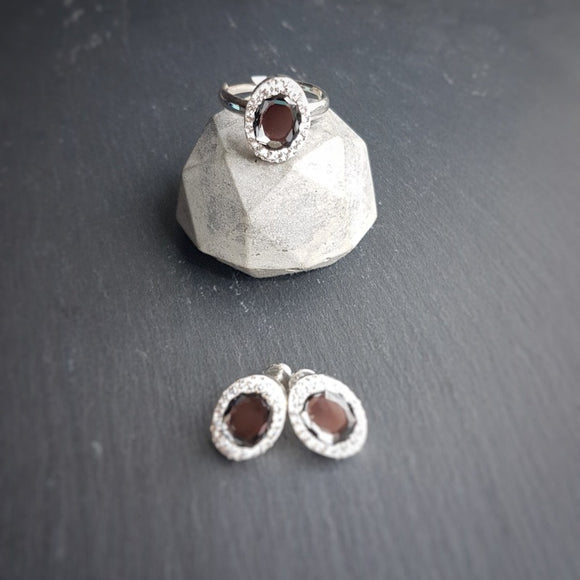 Classic Oval Earrings and Ring Set | Choose your colour, [product type], - Personalised Silver Jewellery Ireland by Magpie Gems