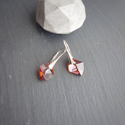 Red Magma Crystal Earrings, [product type], - Personalised Silver Jewellery Ireland by Magpie Gems