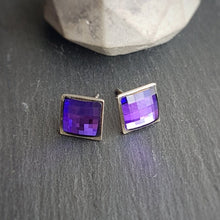 Load image into Gallery viewer, Dainty Chessboard Square Stud Crystal Earrings, [product type], - Personalised Silver Jewellery Ireland by Magpie Gems