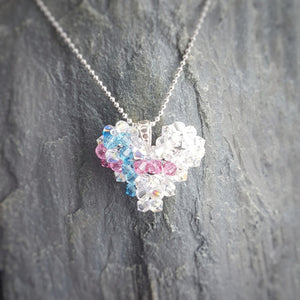 Stillbirth Awareness Ribbon of Hope Heart Necklace | Baby Loss Jewelry | Miscarriage, [product type], - Personalised Silver Jewellery Ireland by Magpie Gems
