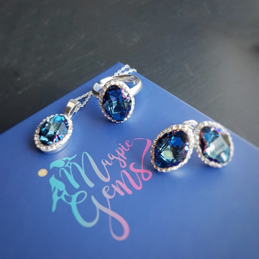 Blue Pave Style Oval Jewellery Set, [product type], - Personalised Silver Jewellery Ireland by Magpie Gems