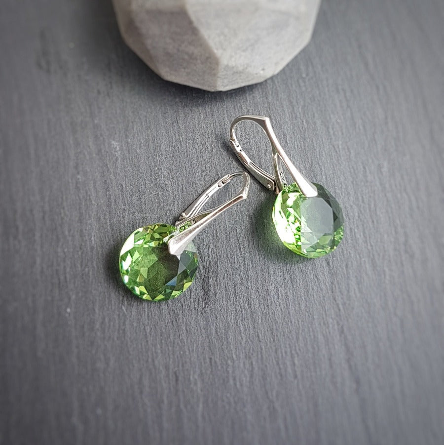 August BIRTHSTONE LEO Peridot crystal earrings, [product type], - Personalised Silver Jewellery Ireland by Magpie Gems