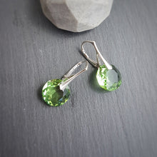 Load image into Gallery viewer, August BIRTHSTONE LEO Peridot crystal earrings, [product type], - Personalised Silver Jewellery Ireland by Magpie Gems