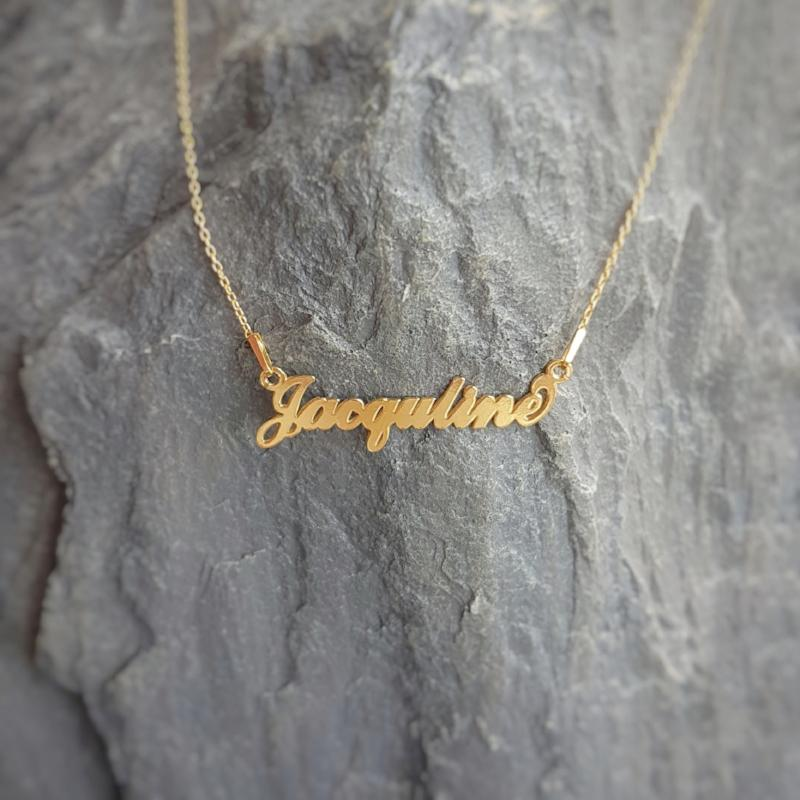 Jacquline - Personalised Name necklace | 24k Gold Filled, [product type], - Personalised Silver Jewellery Ireland by Magpie Gems