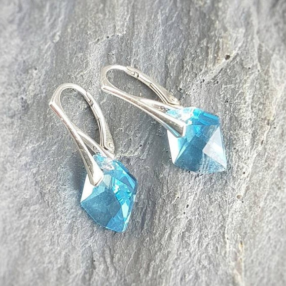 Aquamarine Cosmic Crystal Earrings, [product type], - Personalised Silver Jewellery Ireland by Magpie Gems