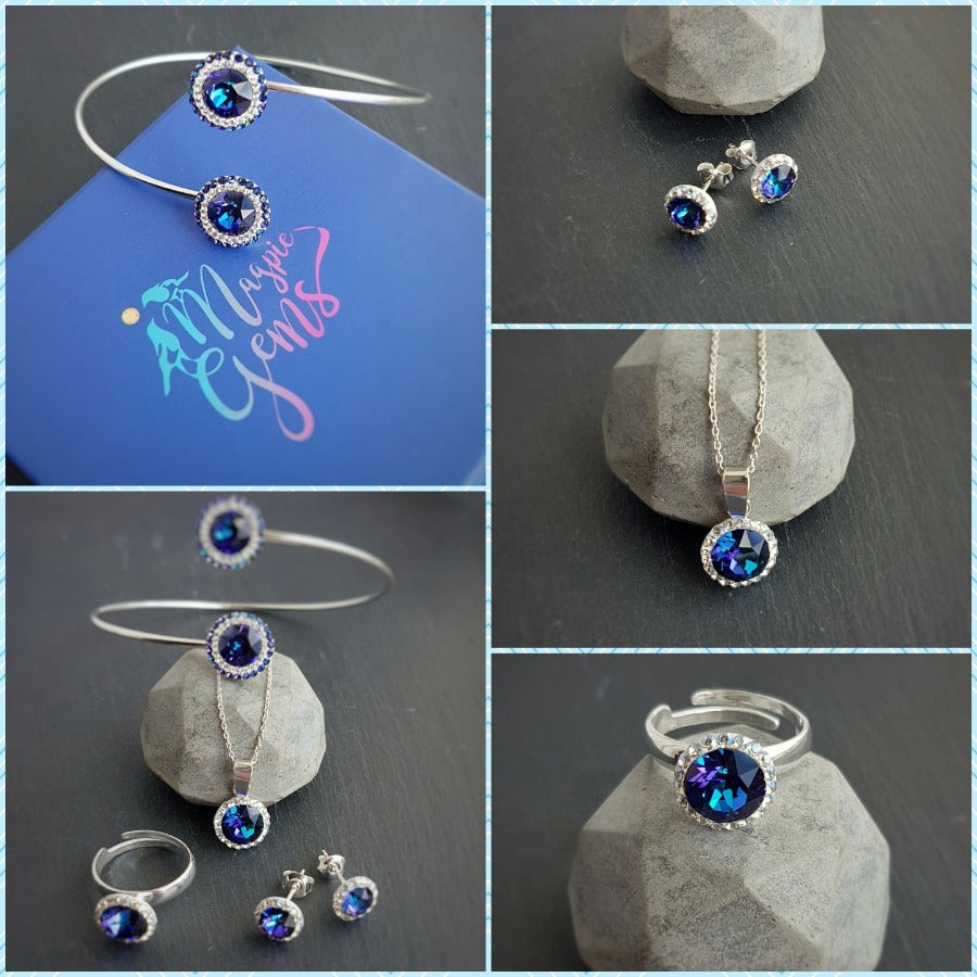 Blue Pave Style Jewellery Stud Earrings, Necklace and Adjustable Ring set with Swarovski crystals and sterling silver - Made in Ireland, [product type], - Personalised Silver Jewellery Ireland by Magpie Gems