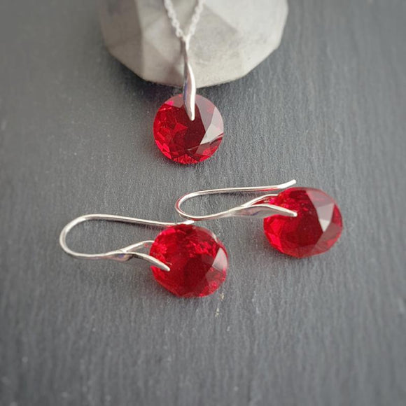 July BIRTHSTONE Cancer Light Siam red crystal earrings and necklace set, [product type], - Personalised Silver Jewellery Ireland by Magpie Gems