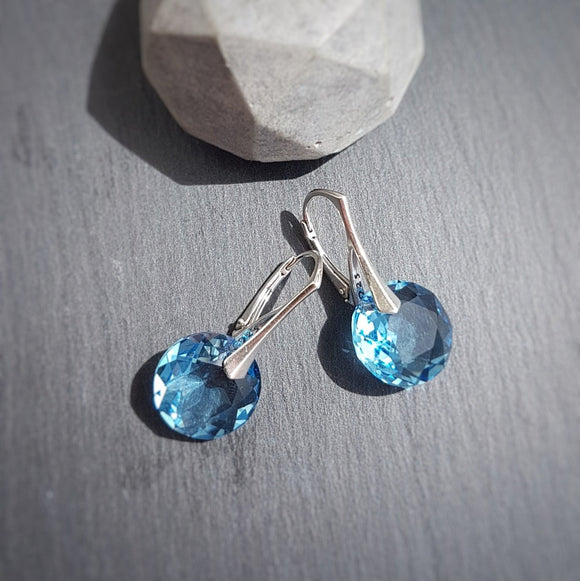 March Pisces BIRTHSTONE Aquamarine earrings, [product type], - Personalised Silver Jewellery Ireland by Magpie Gems