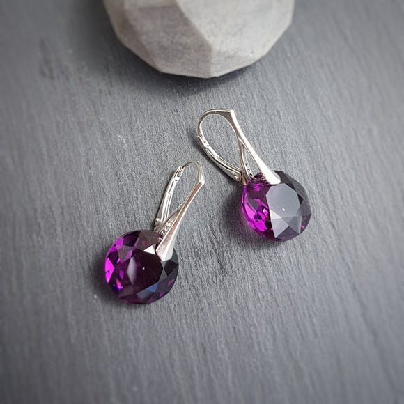 February Aquarius Amethyst BIRTHSTONE Leverback Earrings, [product type], - Personalised Silver Jewellery Ireland by Magpie Gems