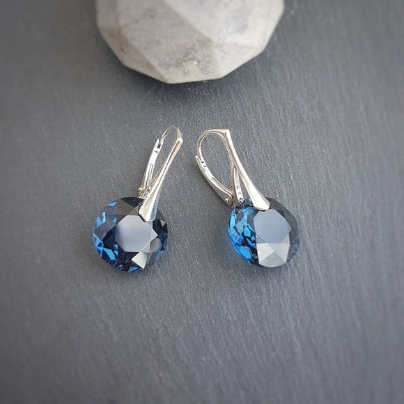 December Sagittarius Montana crystal BIRTHSTONE Earrings, [product type], - Personalised Silver Jewellery Ireland by Magpie Gems