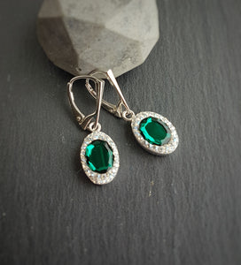 Oval Pave Style silver earrings | Choose your colour, [product type], - Personalised Silver Jewellery Ireland by Magpie Gems