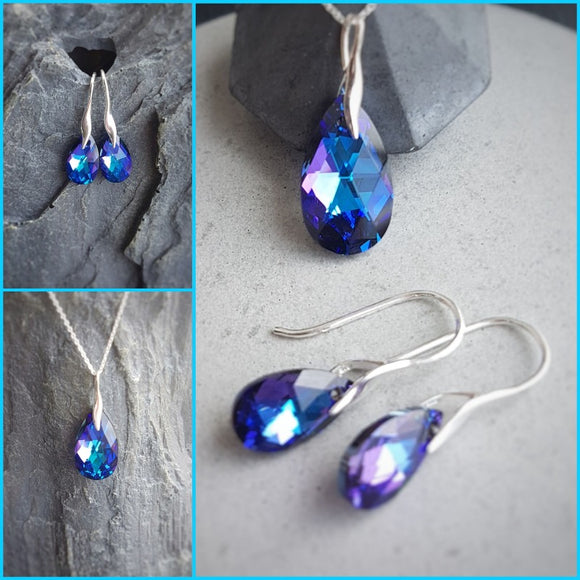 Crystal teardrop earrings and pendant necklace set, [product type], - Personalised Silver Jewellery Ireland by Magpie Gems