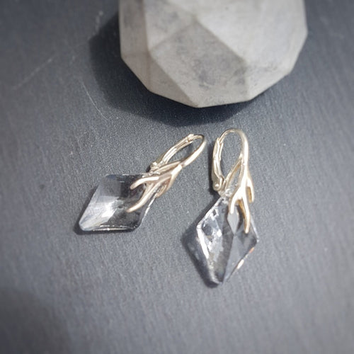 Delicate Rhombus Crystal Earrings for sensitive ears, [product type], - Personalised Silver Jewellery Ireland by Magpie Gems