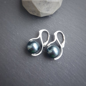 Large Tahitian Pearl Drop Earrings with silver leverbacks | choose your colour, [product type], - Personalised Silver Jewellery Ireland by Magpie Gems