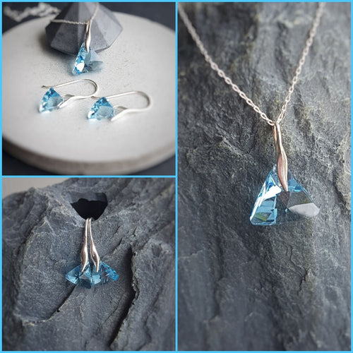 Aquamarine Triangle Crystal Jewellery Set, [product type], - Personalised Silver Jewellery Ireland by Magpie Gems