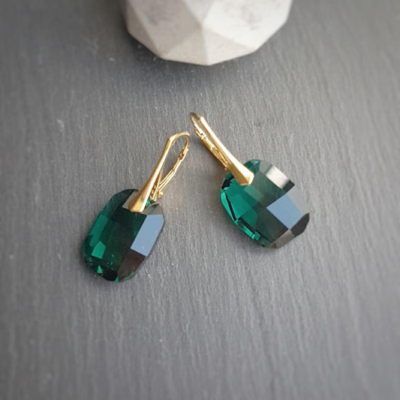 Large Emerald Green Crystal Earrings | 24k Gold plated, [product type], - Personalised Silver Jewellery Ireland by Magpie Gems