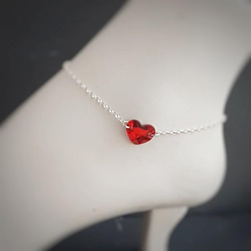 Heart Anklet for Women | Sterling Silver Ankle Bracelet, [product type], - Personalised Silver Jewellery Ireland by Magpie Gems