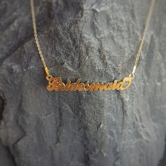Bridesmaid - Personalised Name necklace | Bridesmaids Gift, [product type], - Personalised Silver Jewellery Ireland by Magpie Gems